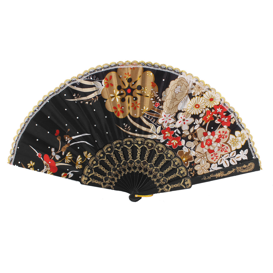 Party Dancing Show Plastic Rib Scalloped Rim Brown Red Flower Pattern Black Polyester Cloth Folding Hand Fan