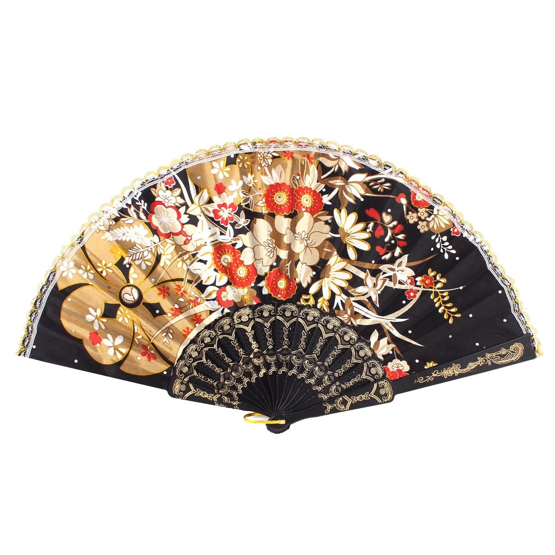 Party Dancing Tool Plastic Frame Khaki White Floral Printed Black Cloth Folding Hand Fan