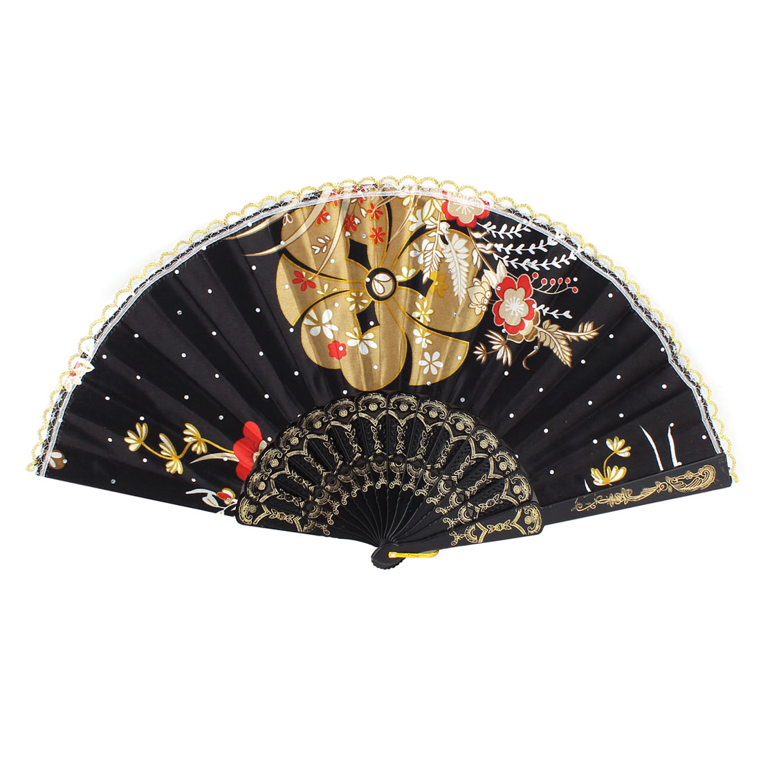 Lady Dancing Show Scalloped Rim Beige White Blossom Pattern Black Polyester Cloth Folding Hand Fan