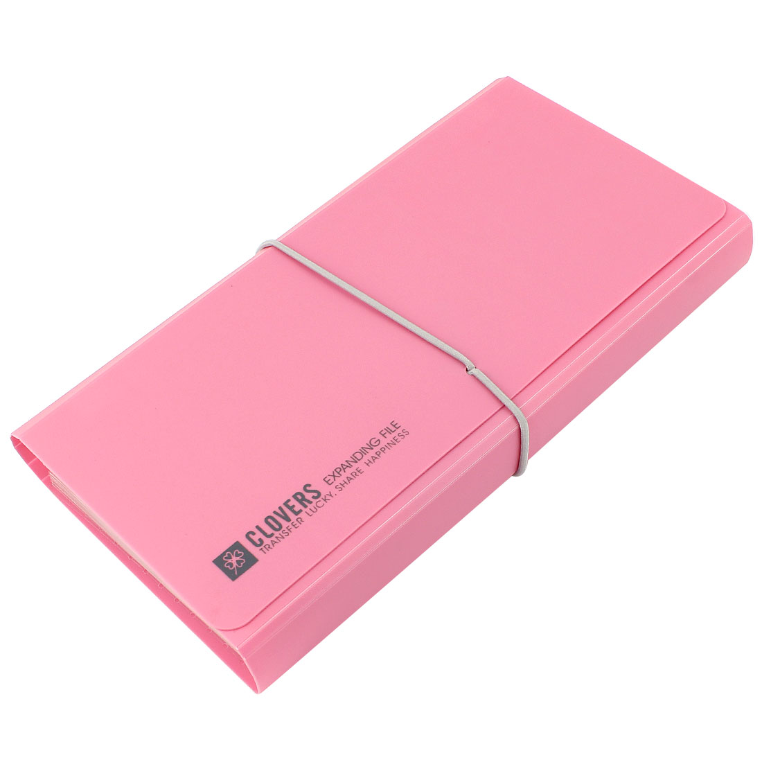 Pink PVC Cover Elastic Drawstring 12 Pocket A6 Paper Document Bill Organizer File Holder
