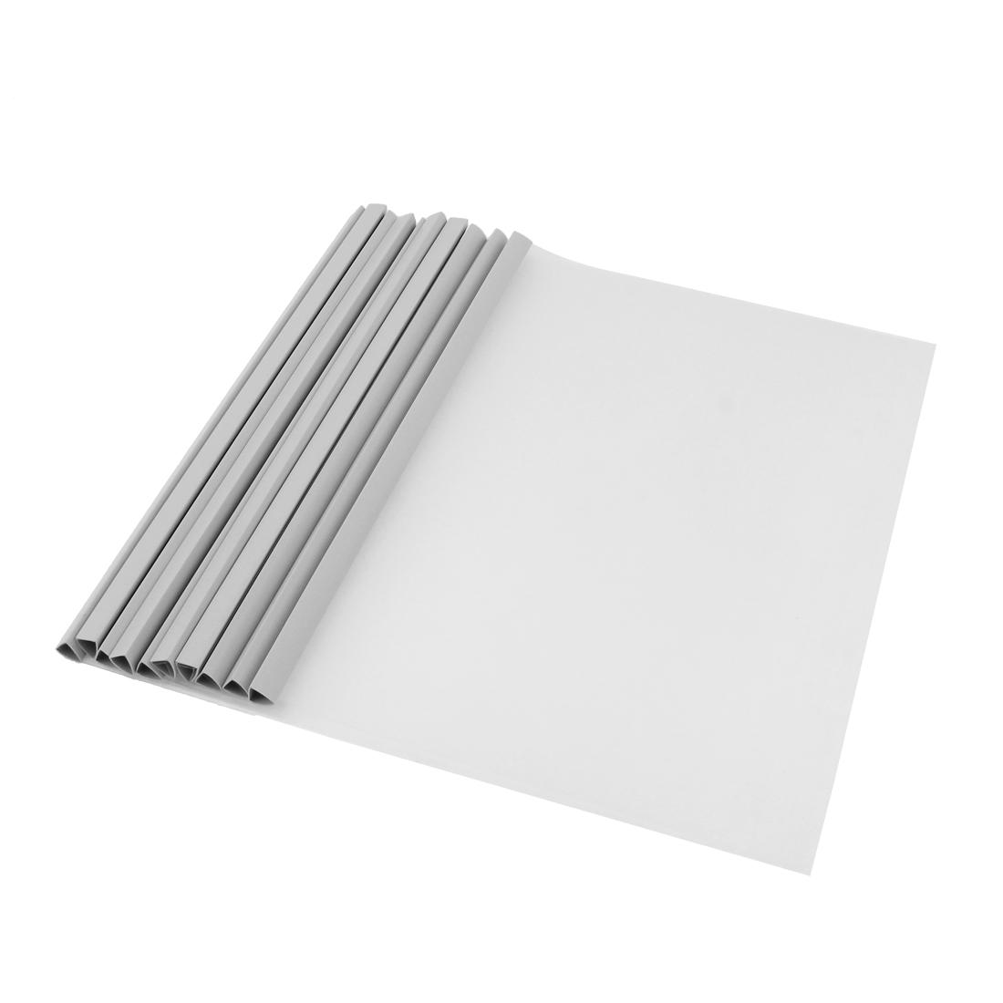 Office Supplies Sliding Bar Design Open Top Side A4 Size Clear PVC Cut Flush Filing File Folders 10pcs