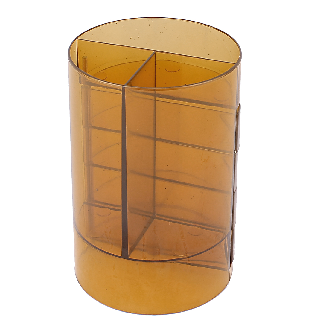 School Student Clear Yellow Plastic Cylinder Shape Ruler Pencil Pen Holder Container