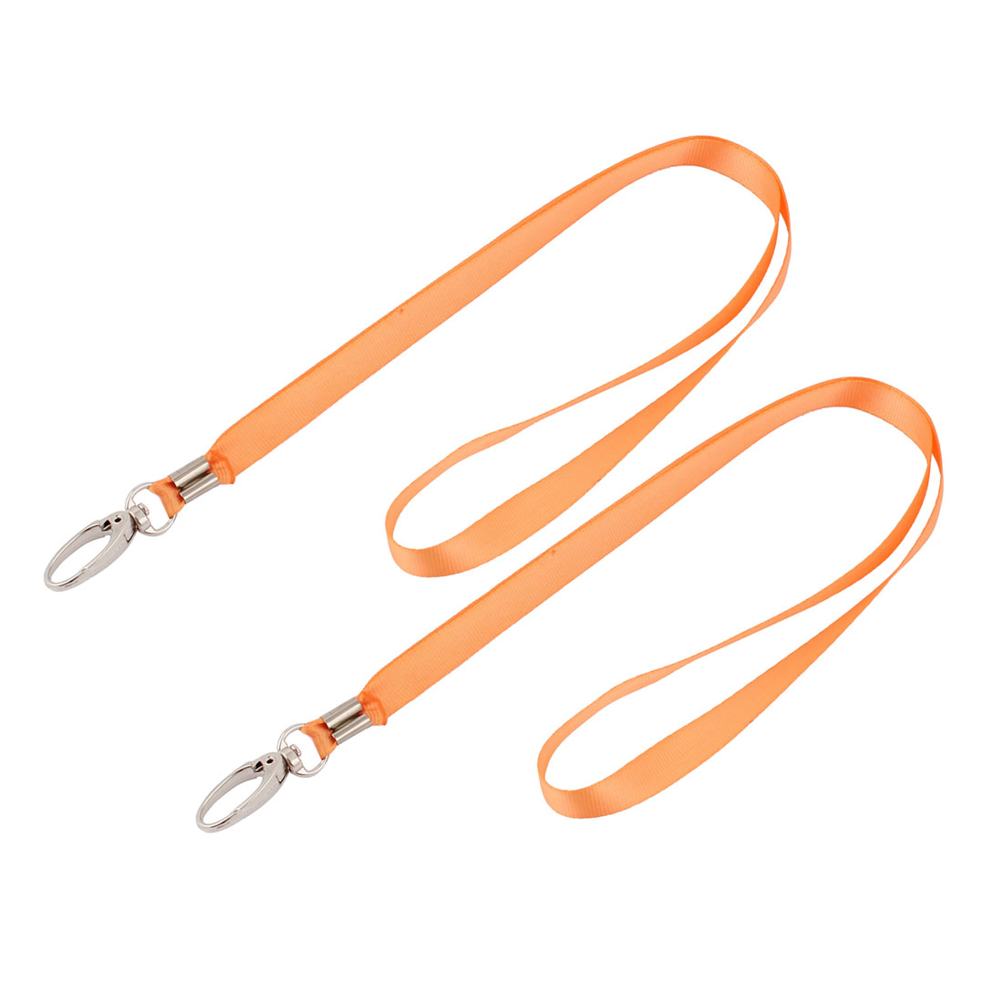 2pcs Metal Clip Orange Nylon Badge Card Name Tag Pouch Hanging Strap Neck String 75cm 2.5ft Long