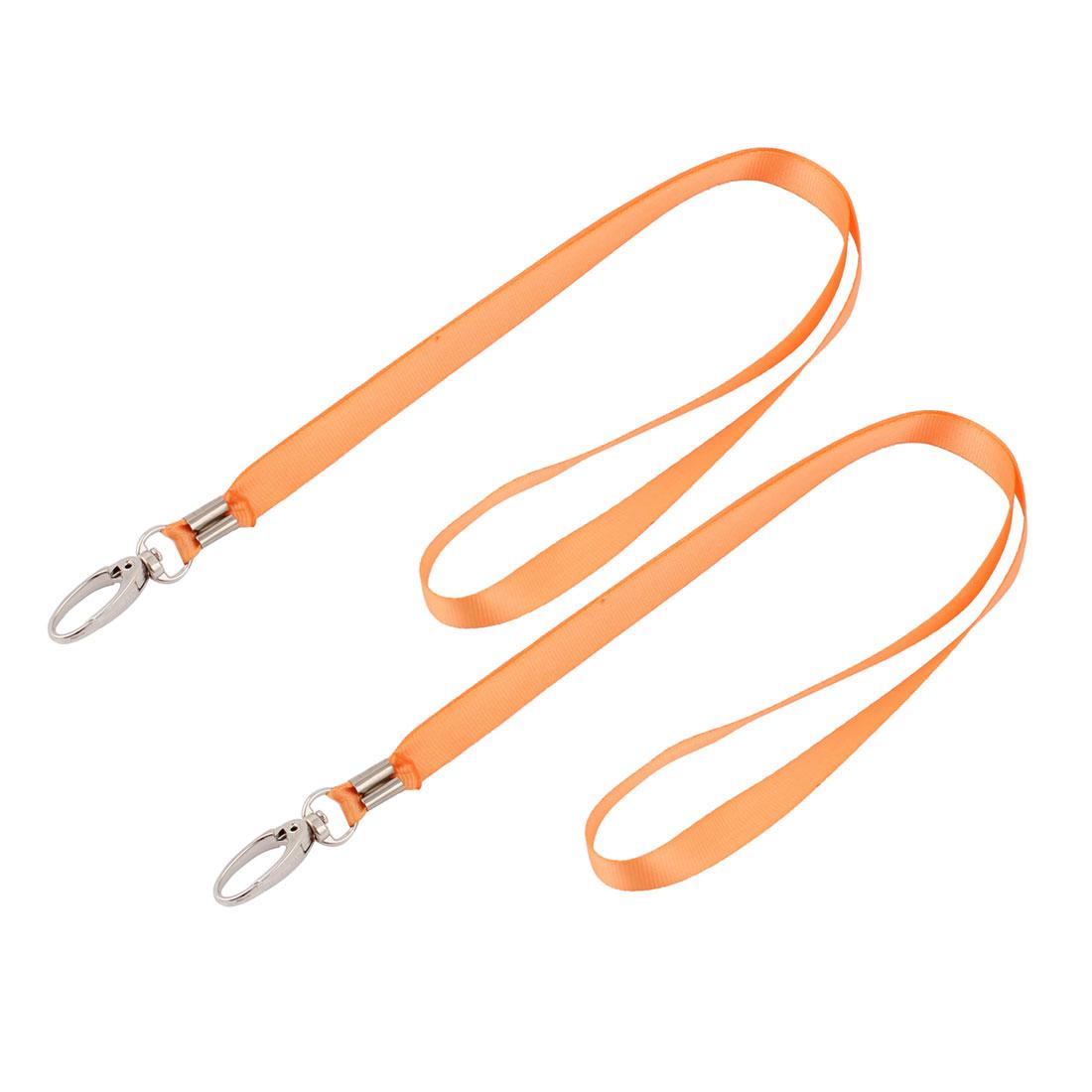 2pcs Metal Clip Orange Nylon Badge Card Name Tag Pouch Hanging Strap Neck String 75cm 2.5ft Long