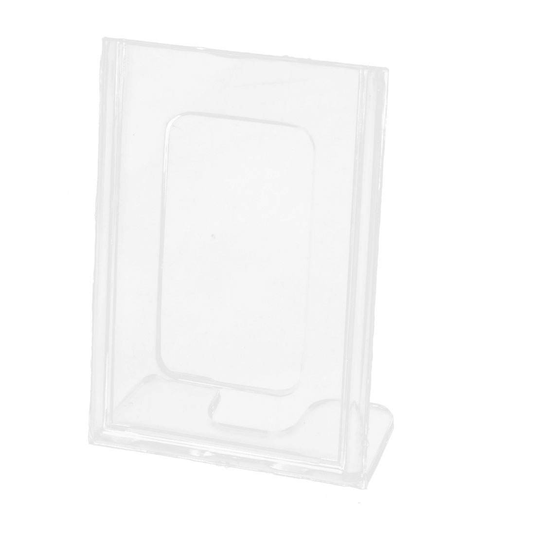 Office Counter L-Shaped Plastic Photos Display Name Business Card Holder Stand Clear