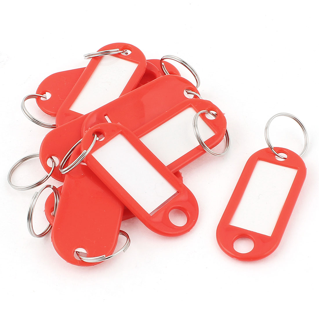 10Pcs Metal Ring Red Plastic Oval Key Fobs Luggage ID Label Name Tag Keyring Keychain