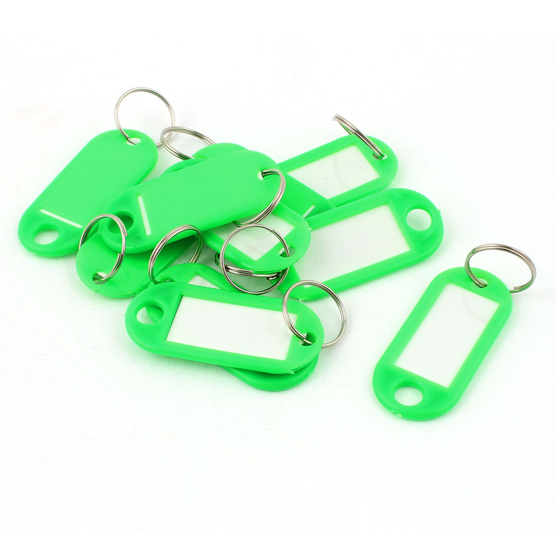 10Pcs Metal Ring Green Plastic Oval Key Fobs Luggage ID Label Name Tag Keyring Keychain