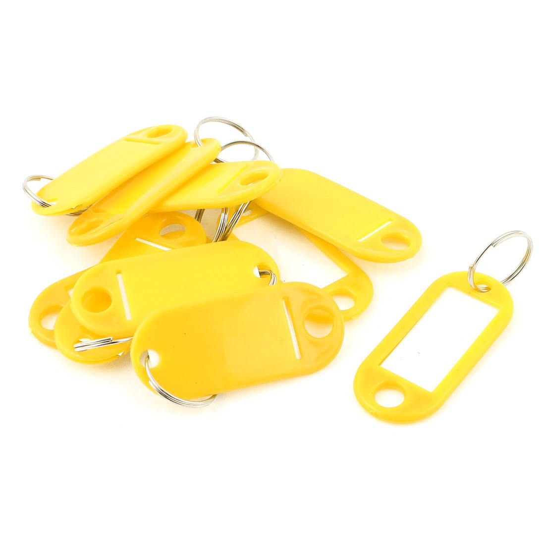 10Pcs Metal Ring Yellow Plastic Oval Key Fobs Luggage ID Label Name Tag Keyring Keychain