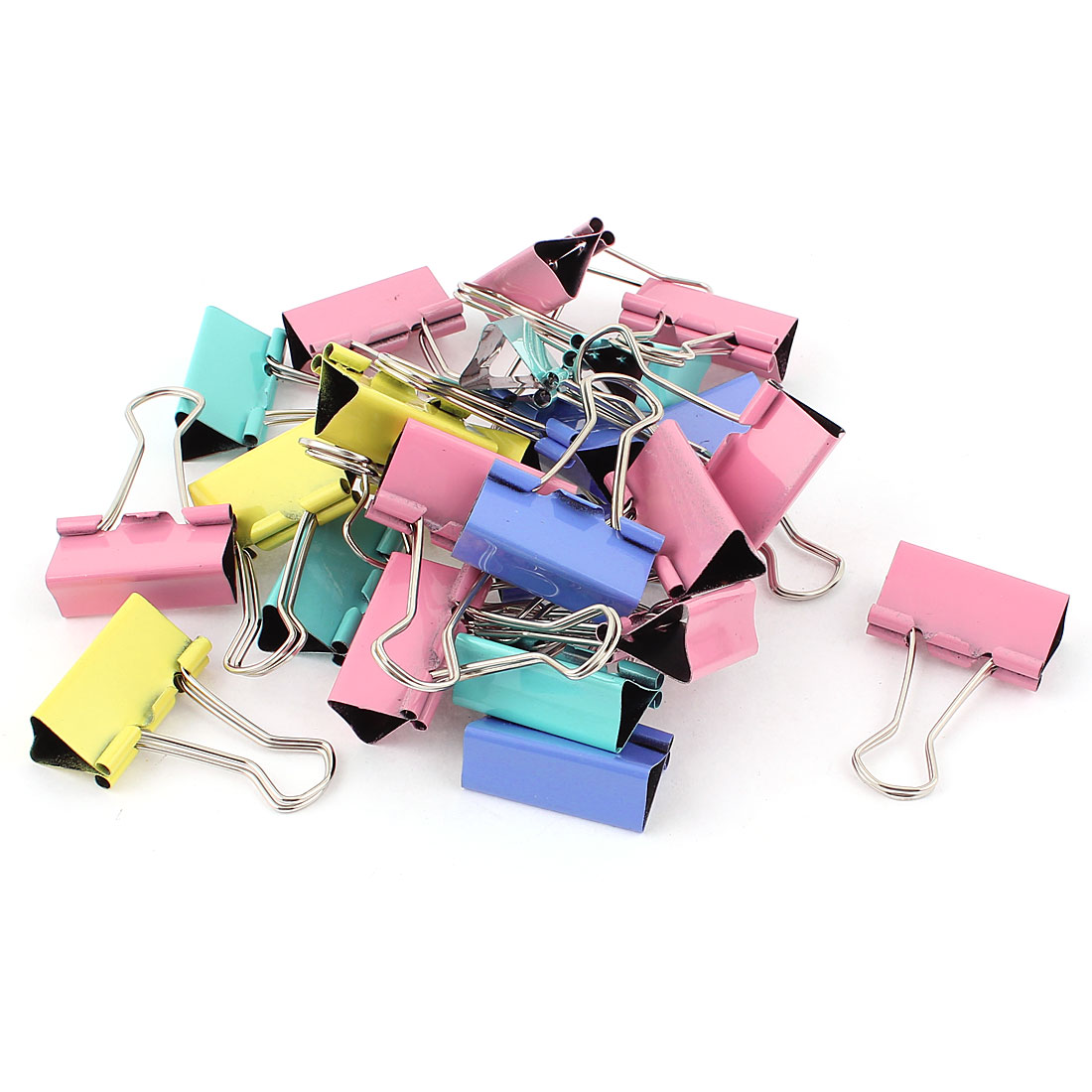 Office School Metal Clamp Binder Paper Clips Stationery Document Organize Assorted Color 24pcs