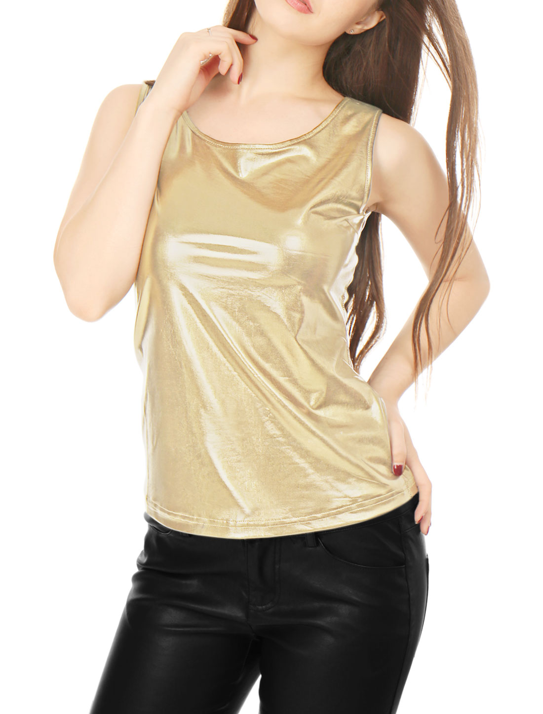 Women Sleeveless U Neck Fashion Metallic Tank Top Gold XL