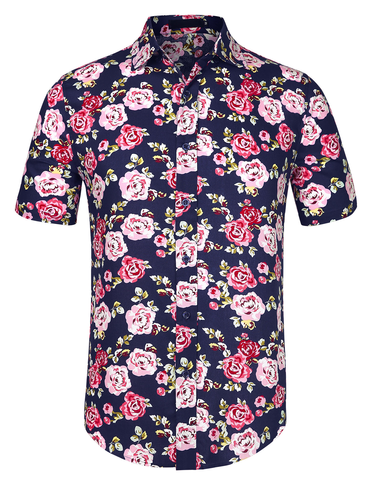 Men Slim Fit Floral Print Point Collar Short Sleeve Button Down Shirt Black Pink L