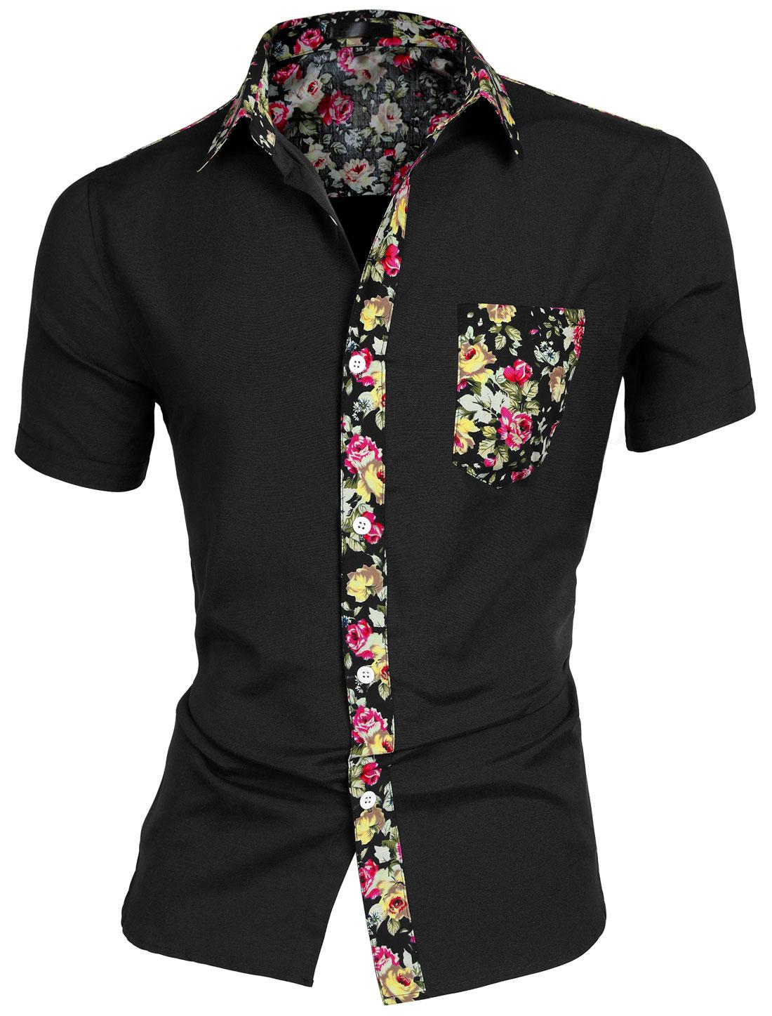 Men Round Hem Floral Print Chest Pocket Short Sleeve Button Down Shirt Black S