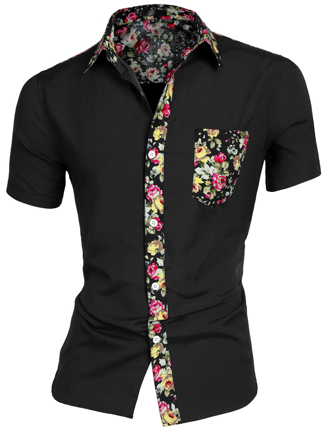 Men Floral Print Round Hem Chest Pocket Short Sleeve Button Down Shirt Black M