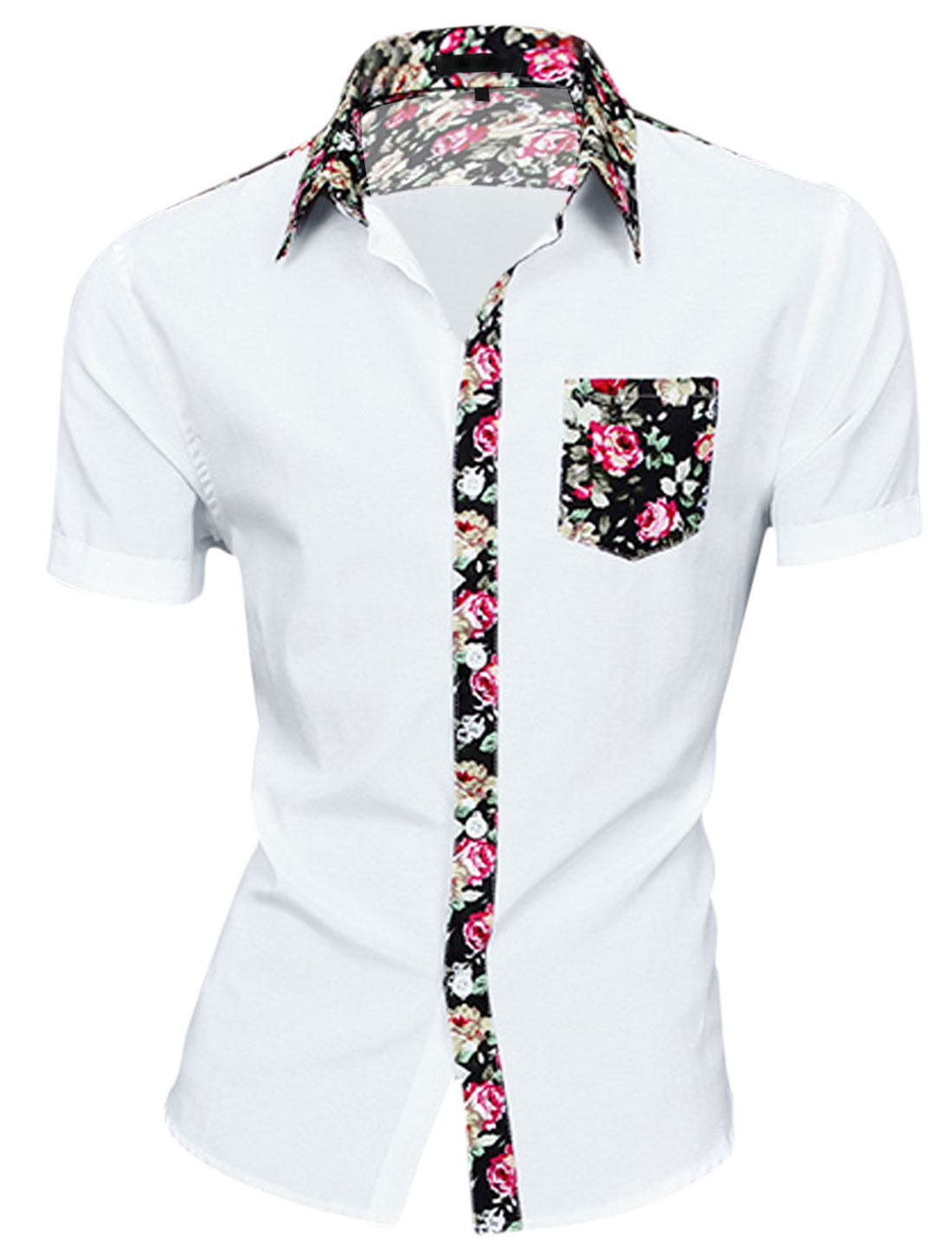 Men Chest Pocket Floral Print Round Hem Short Sleeve Button Down Shirt White S