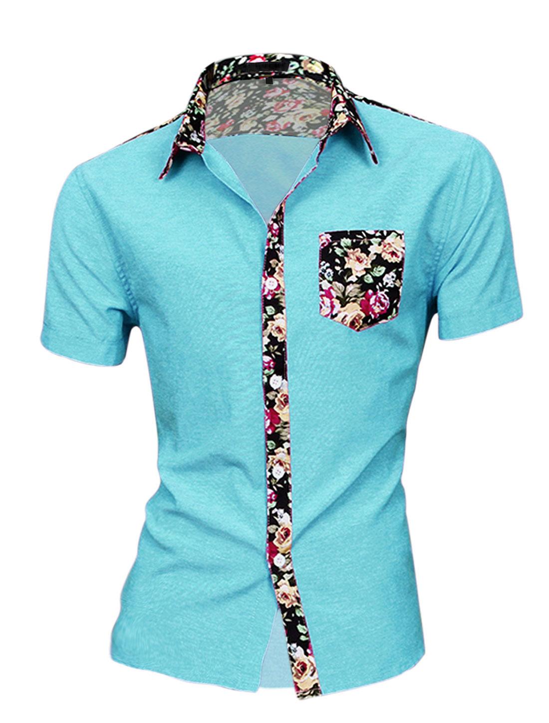 Men Floral Print Round Hem Chest Pocket Short Sleeve Button Down Shirt Sky Blue M
