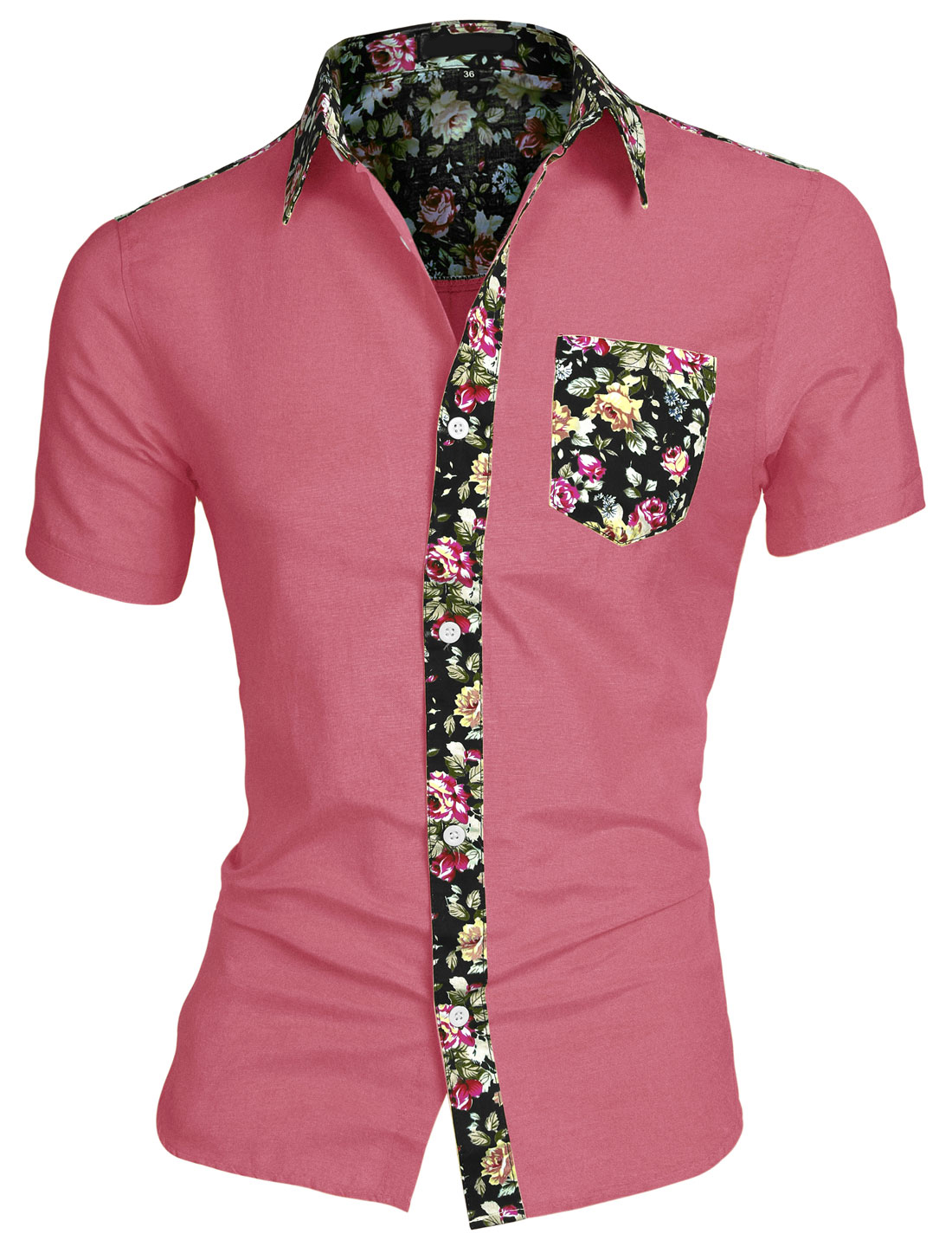 Men Short Sleeve Point Collar Floral Print Pocket Shirts Fuchsia M