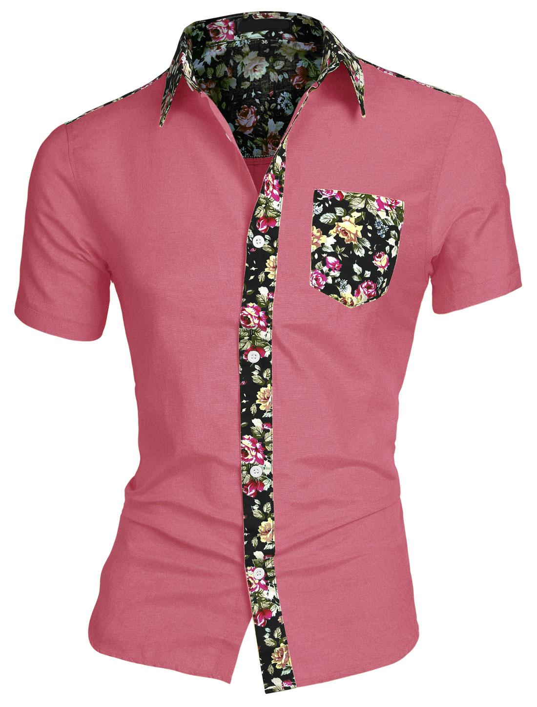 Men Round Hem Floral Print Chest Pocket Short Sleeve Button Down Shirt Fuchsia L