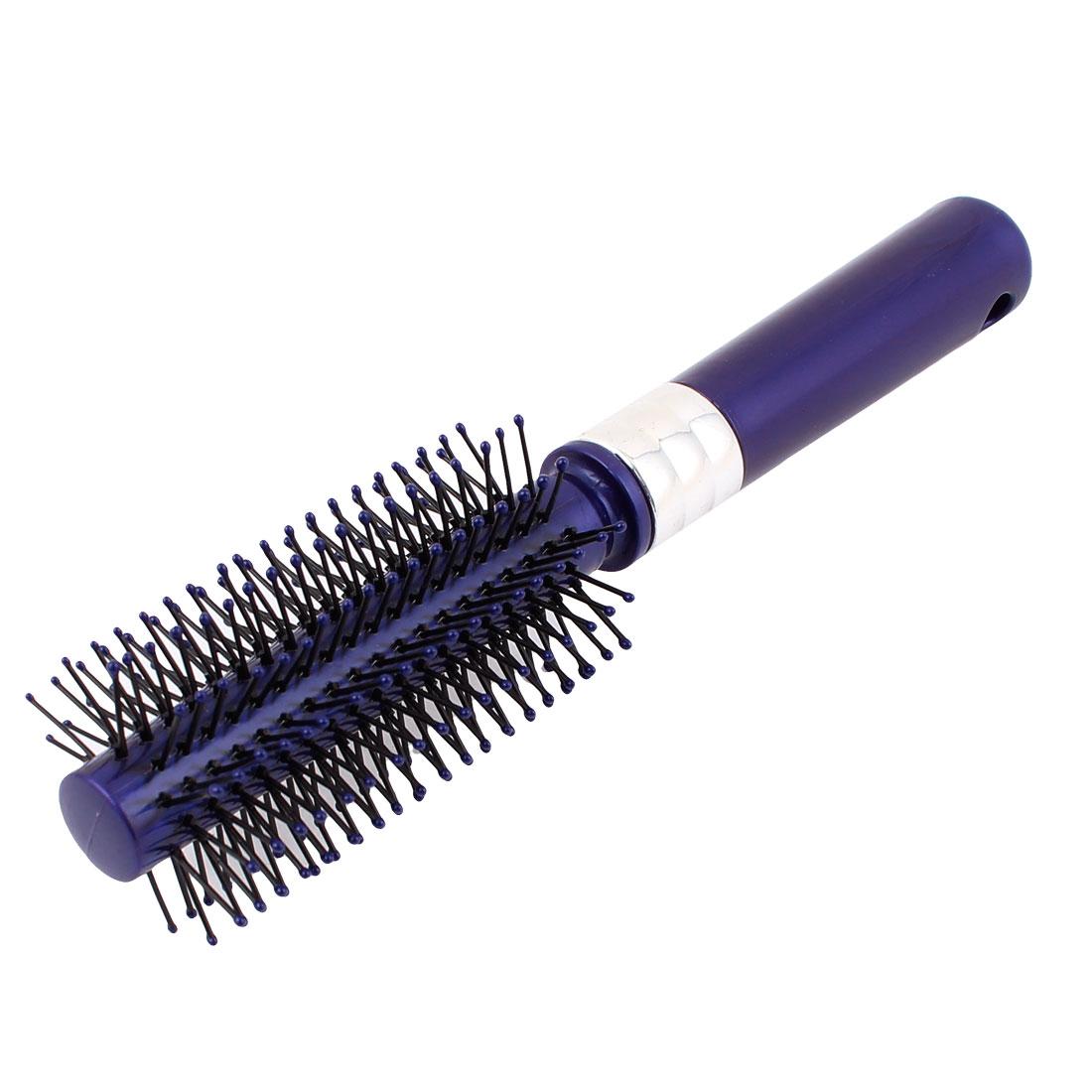 Plastic Grip Curly Hair Salon Styling Bristles Brush Comb Black Dark Purple