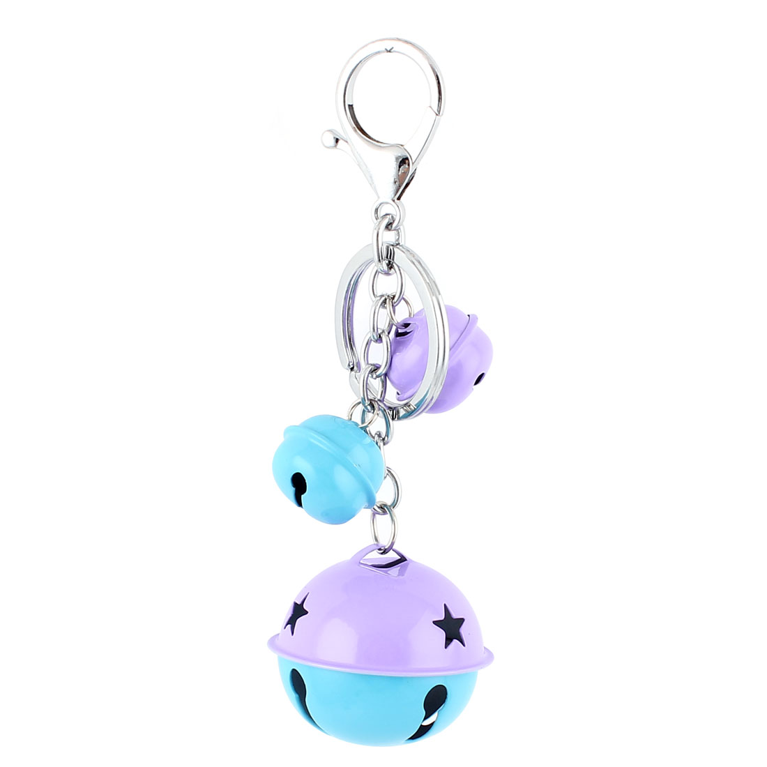 Bells Pendant Lobster Clasp Split Keyring Keychain Hanging Ornament Cyan Purple