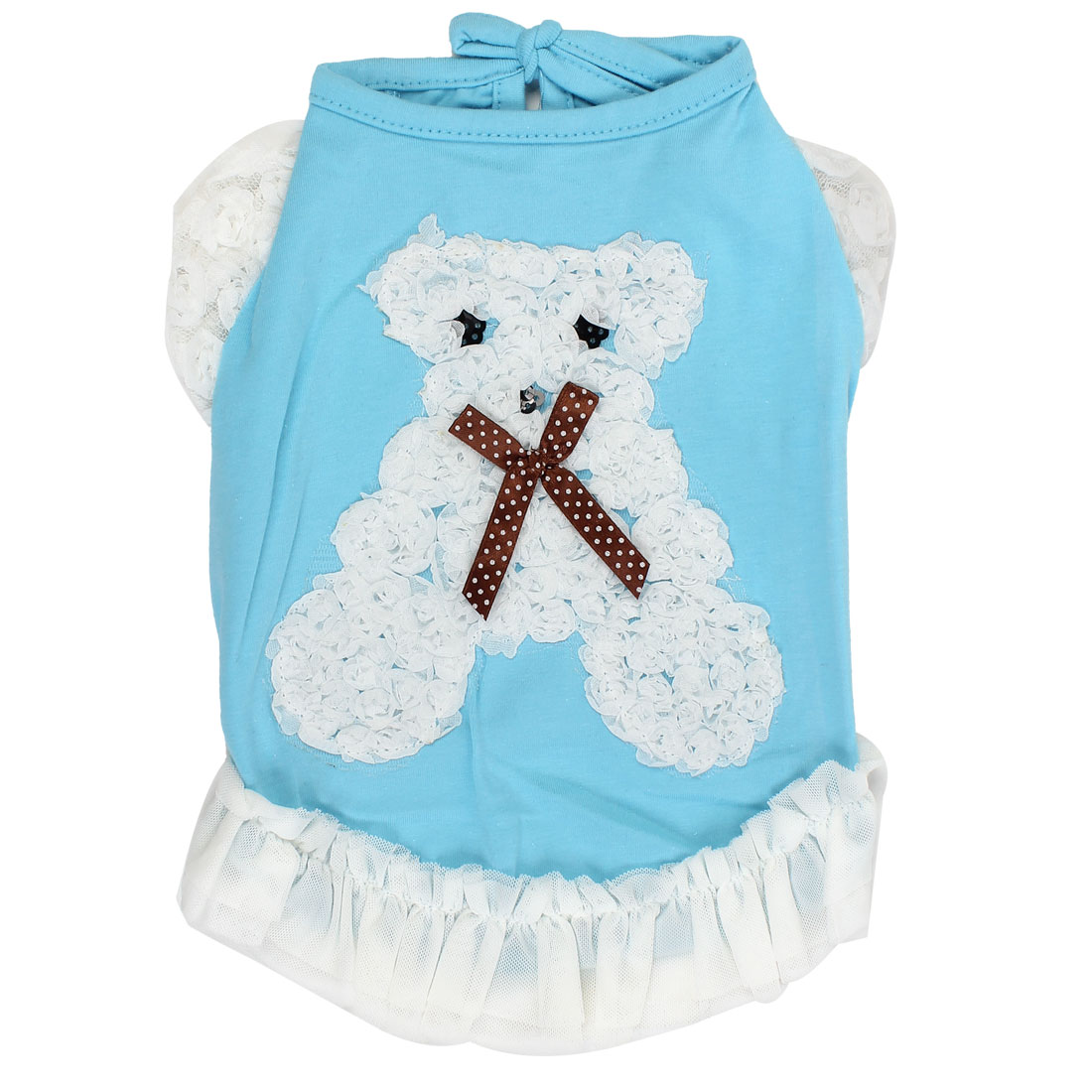 Pet Dog Summer Lace Bear Design T-Shirts Apparel Clothing Costume Blue Size S