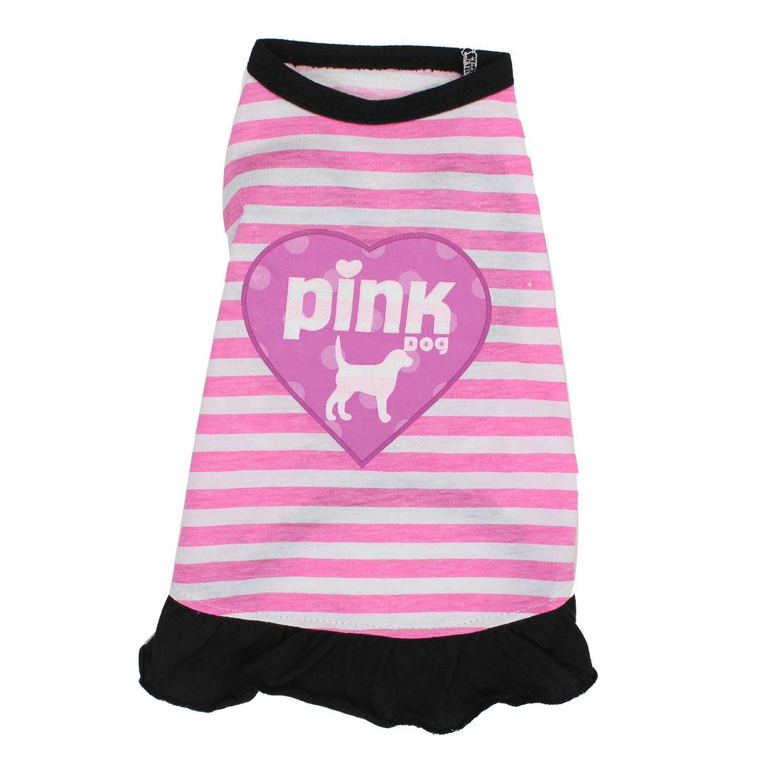 Striped Pet Puppy Summer Clothes Undershirt Skirt Apparel Dress Pink Size S