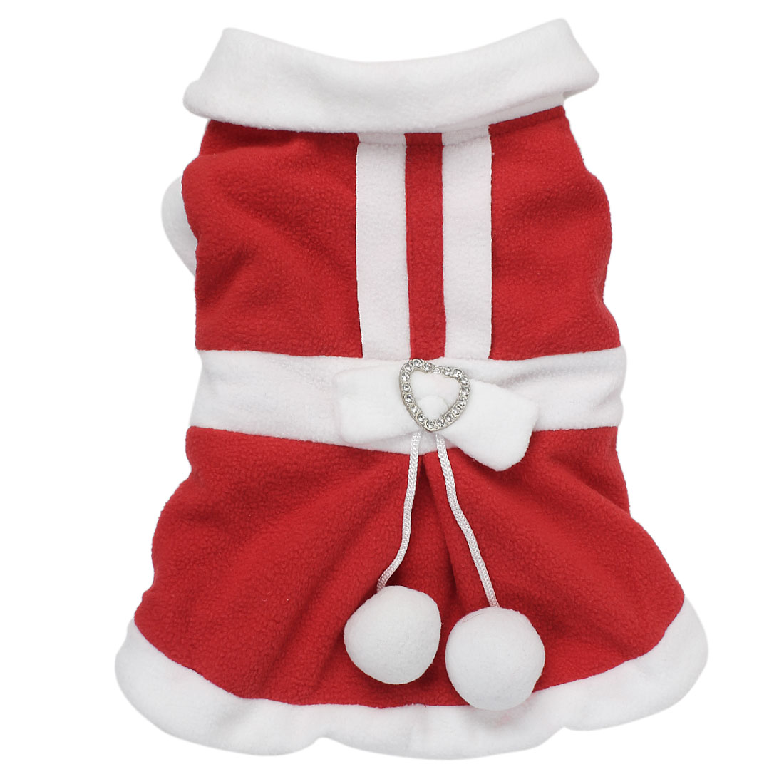 Pet Puppy Dog Bowknot Merry Christmas Warm Coat Jacket Costume Red Size L