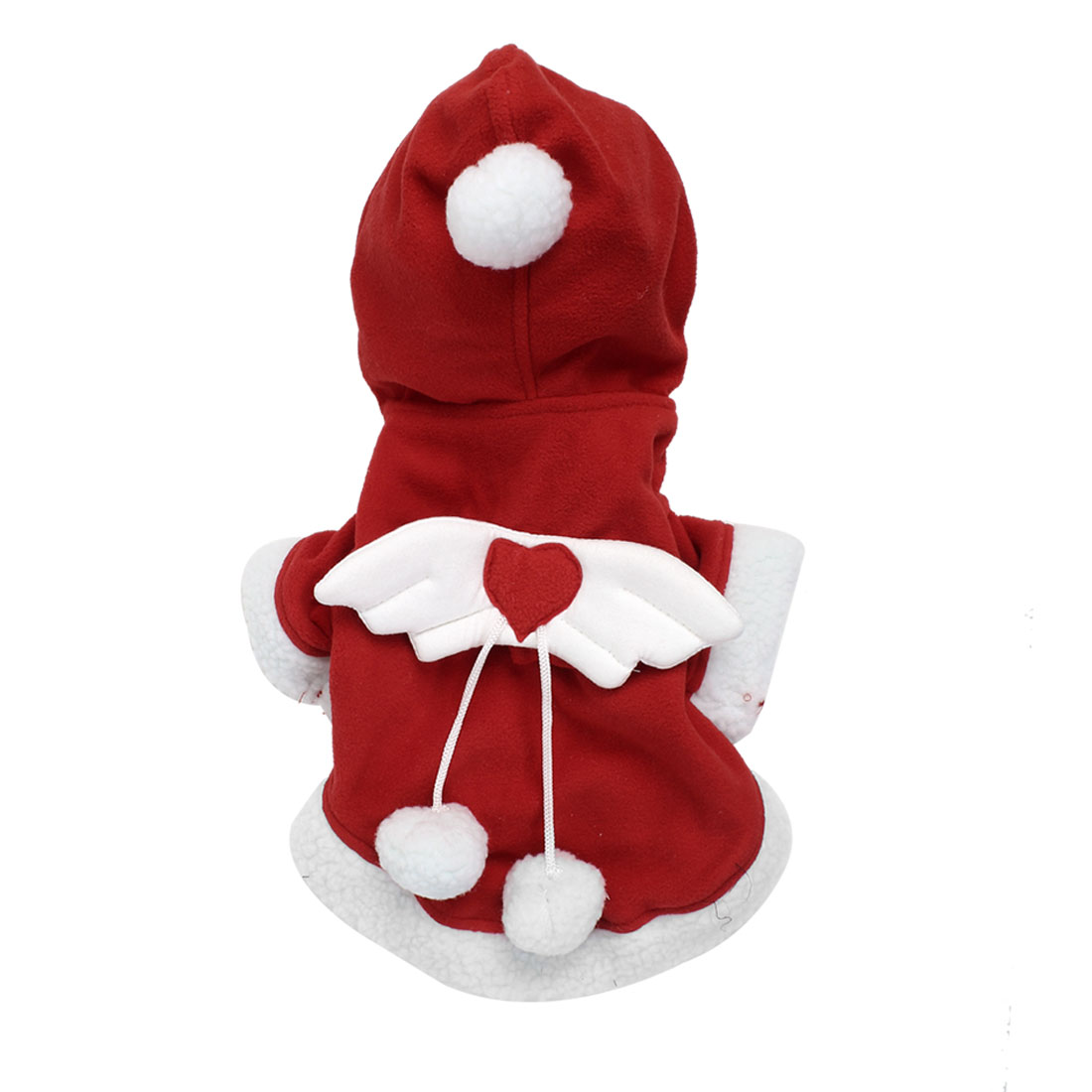 Pet Puppy Dog Wings Decor Christmas Hooded Coat Jacket Costume Red Size S