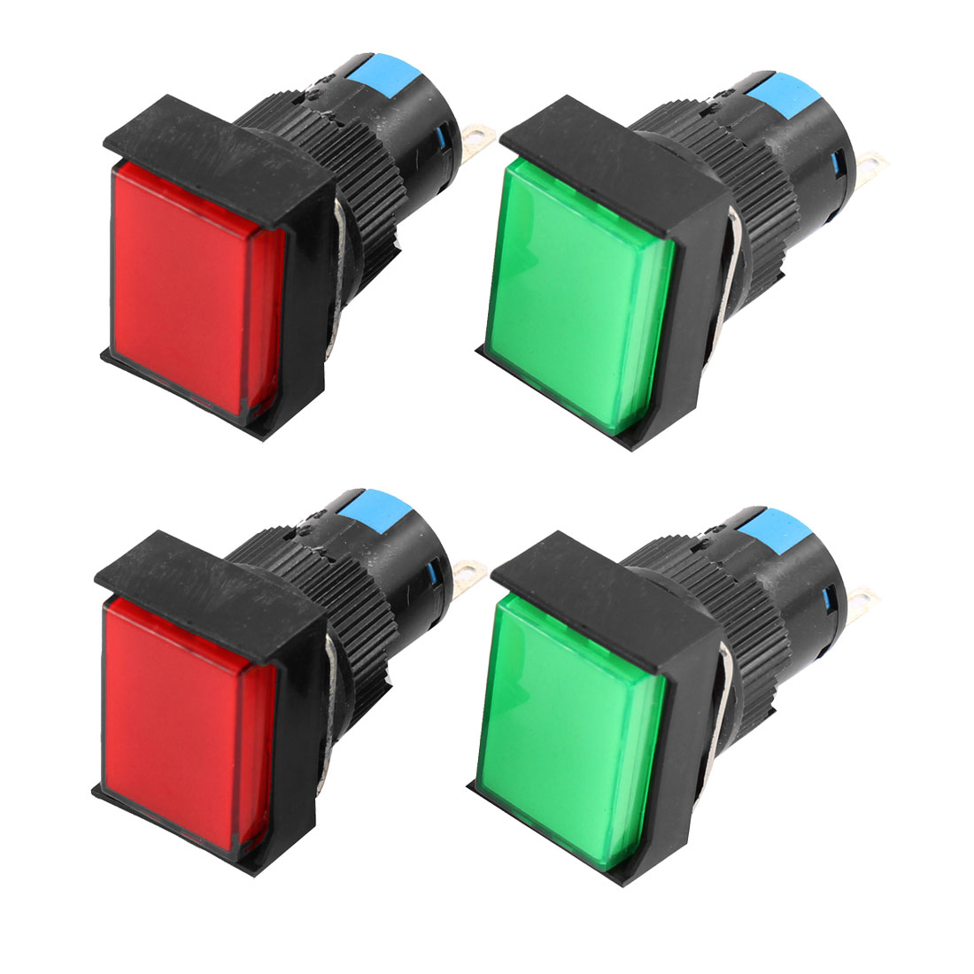 4 Pcs AC250V/5A-16A SPDT Self Locking Push Button Switch Red Green