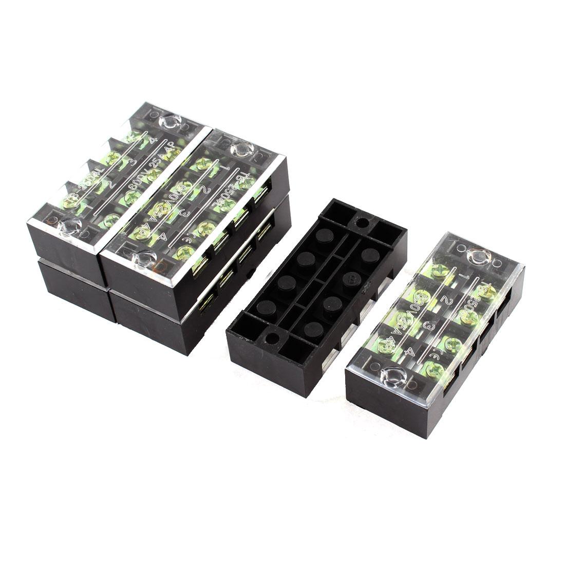 6 Pcs 2504L 600V 25A 4 Positions 8 Screw Electric Barrier Terminal Block