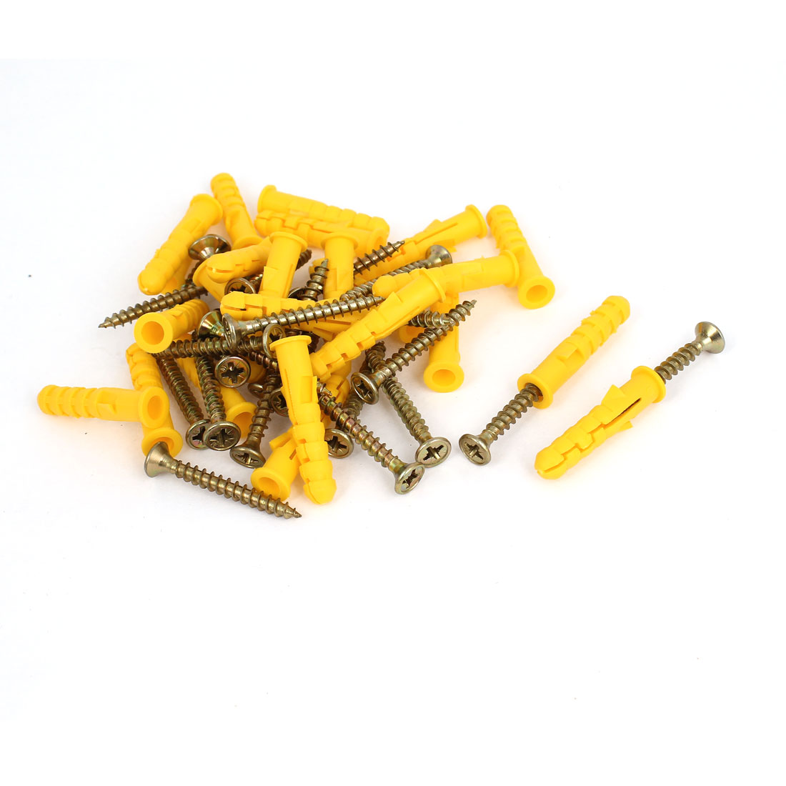 25 Pcs Pozidriv Flat Head Self Drilling Drywall Screws Nails Yellow Anchor Kits