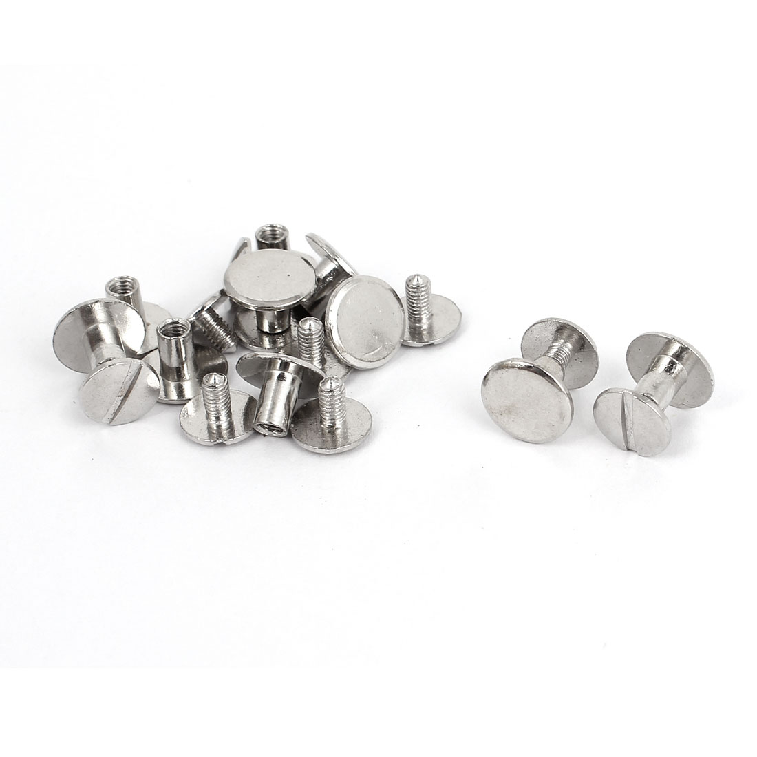 4.5mmx6.5mm Silver Plated Binding Screw Post For Leather Belt 10pcs