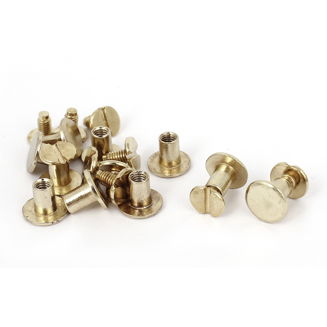 4.5x6.5mm Brass Plated Binding Chicago Screw Post For Leather Purse Belt 10pcs