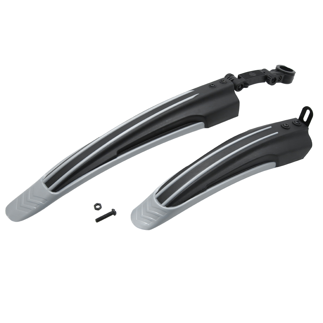 Black Gray Plastic Cycling Bike Bicycle Rear Front Mud Guard Mudguard Fenders Set