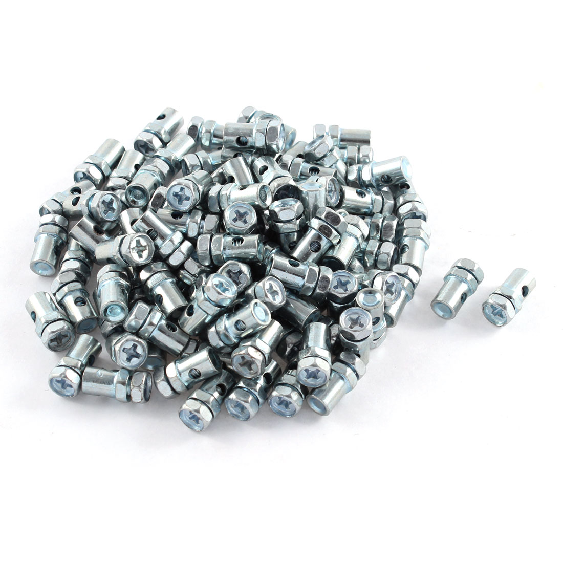 100 Pcs 8mm x 2mm Barrel Type Phillips Head Screw Motorcycle Cable Bolts Top Fitting Solderless Nipple