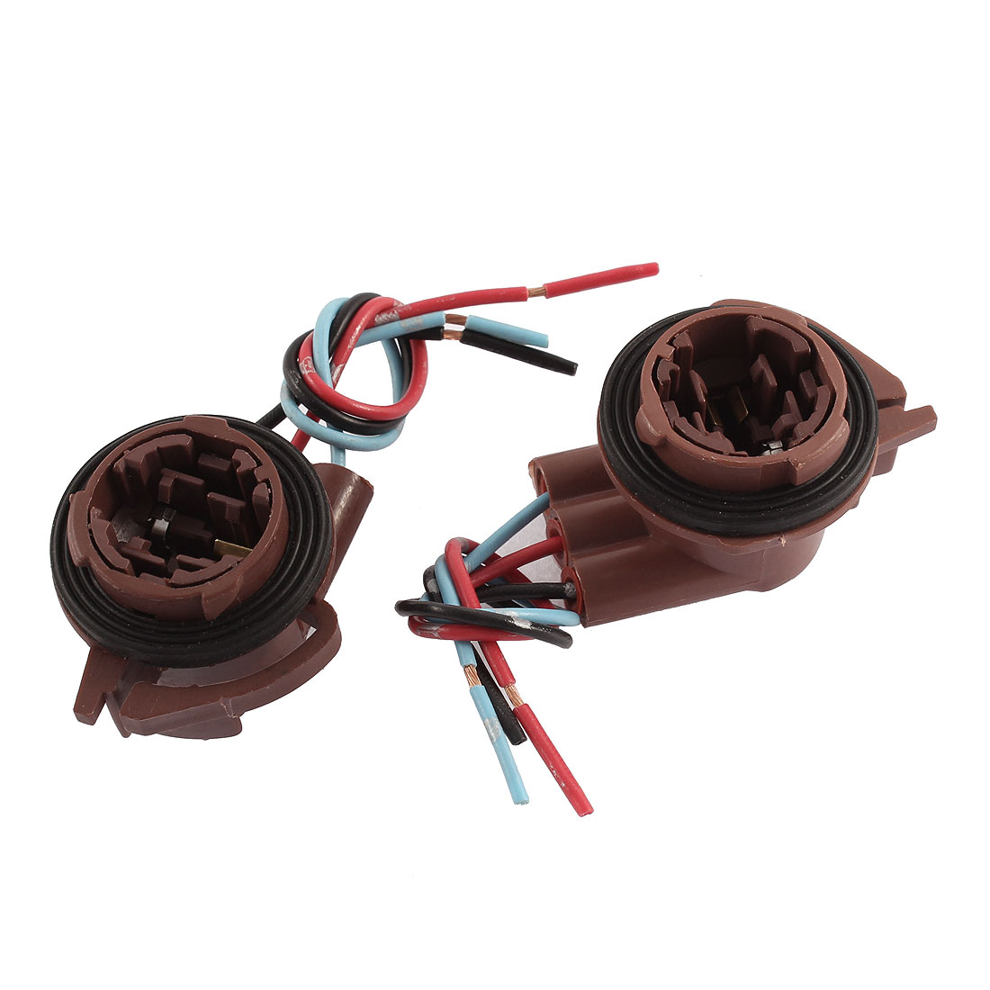 2 Pcs 3157 Bulb Socket Car Brake Turn Signal Light Harness Wire Connectors Brown