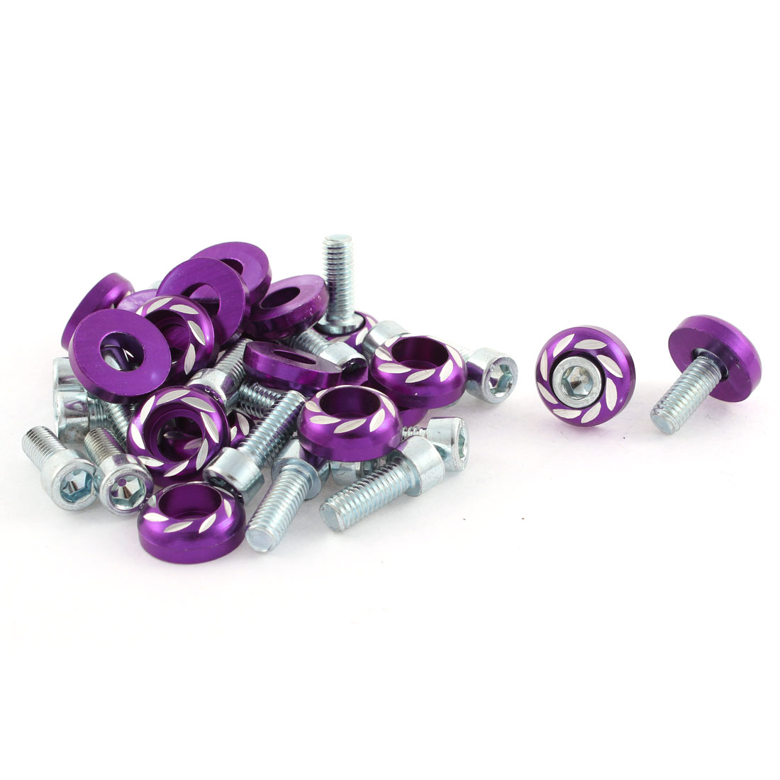20 Pcs Purple Metal Leaves Print License Plate Bolt Screw for Car Auto