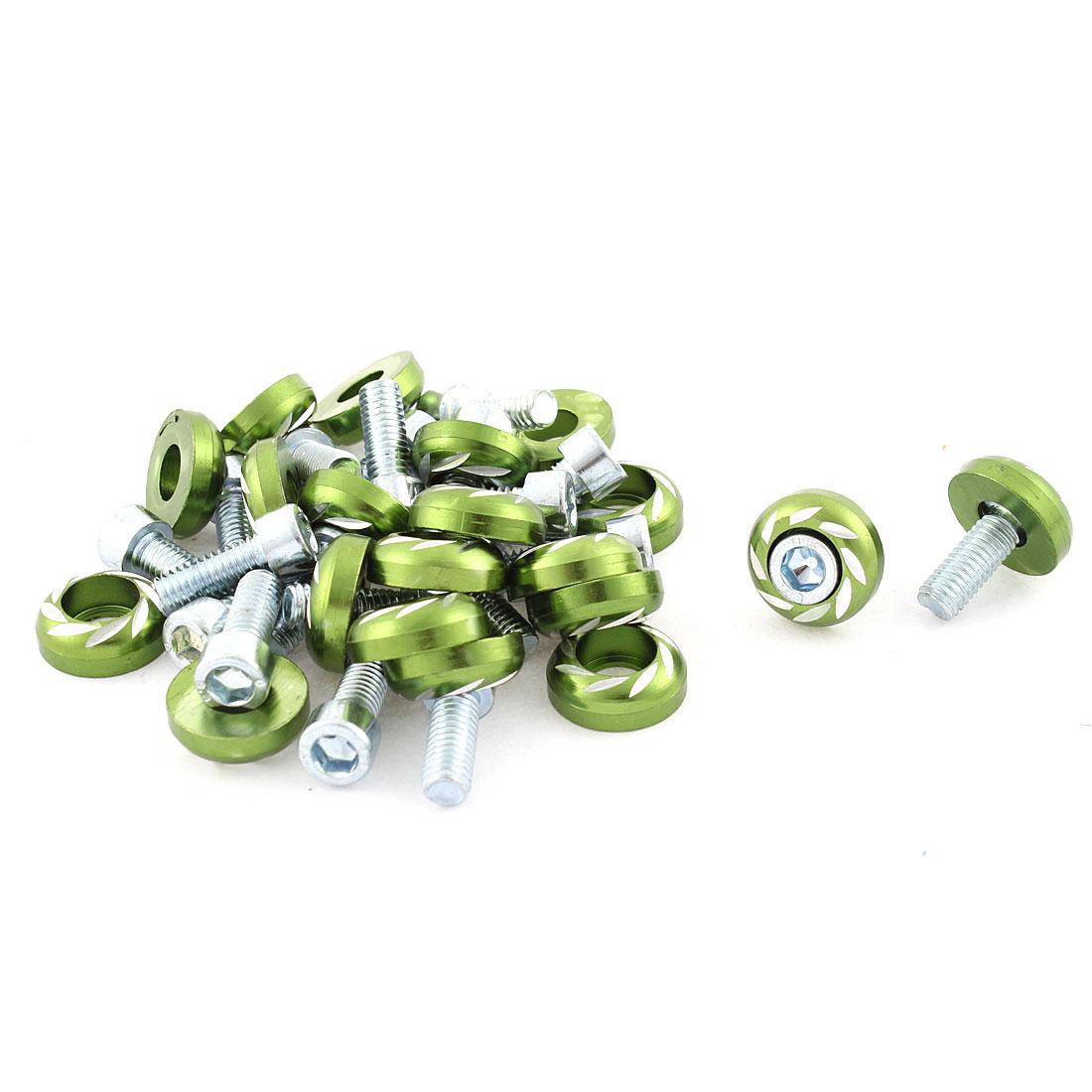 Green 6mm Thread Diameter Round Head Shape Car License Plate Bolt Screws 20pcs