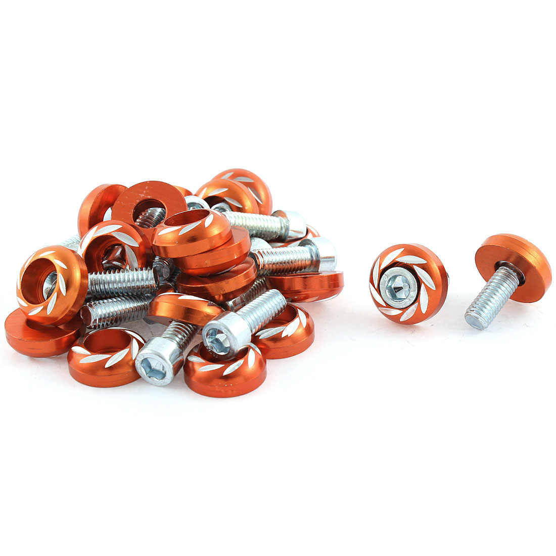 Car Auto Orange Round Cap License Plate Bolts Screws Accessory 18mm 20pcs