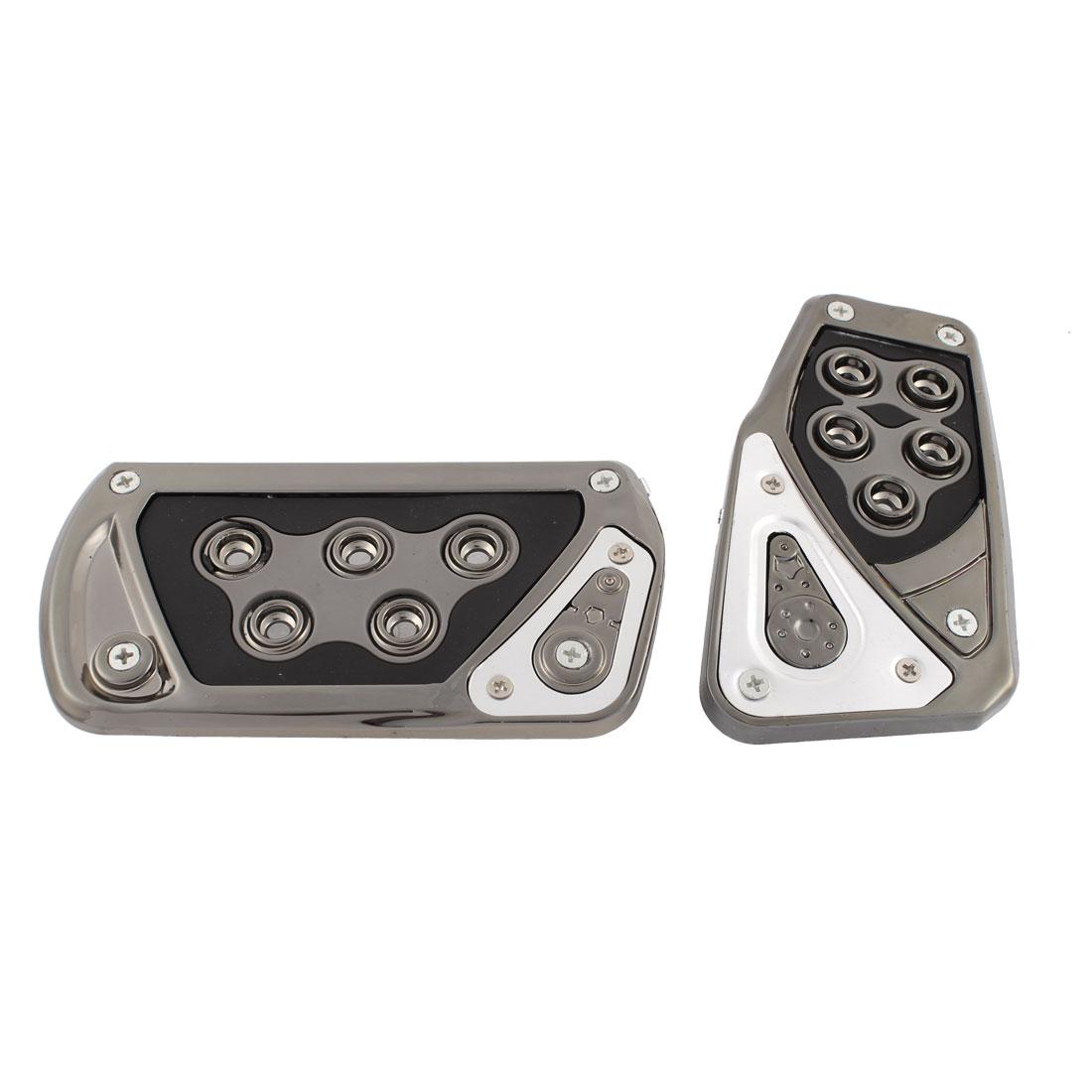 2 in 1 Manual Car Antislip Clutch Brake Gas Pedal Pad Kit Set Black Sliver Tone