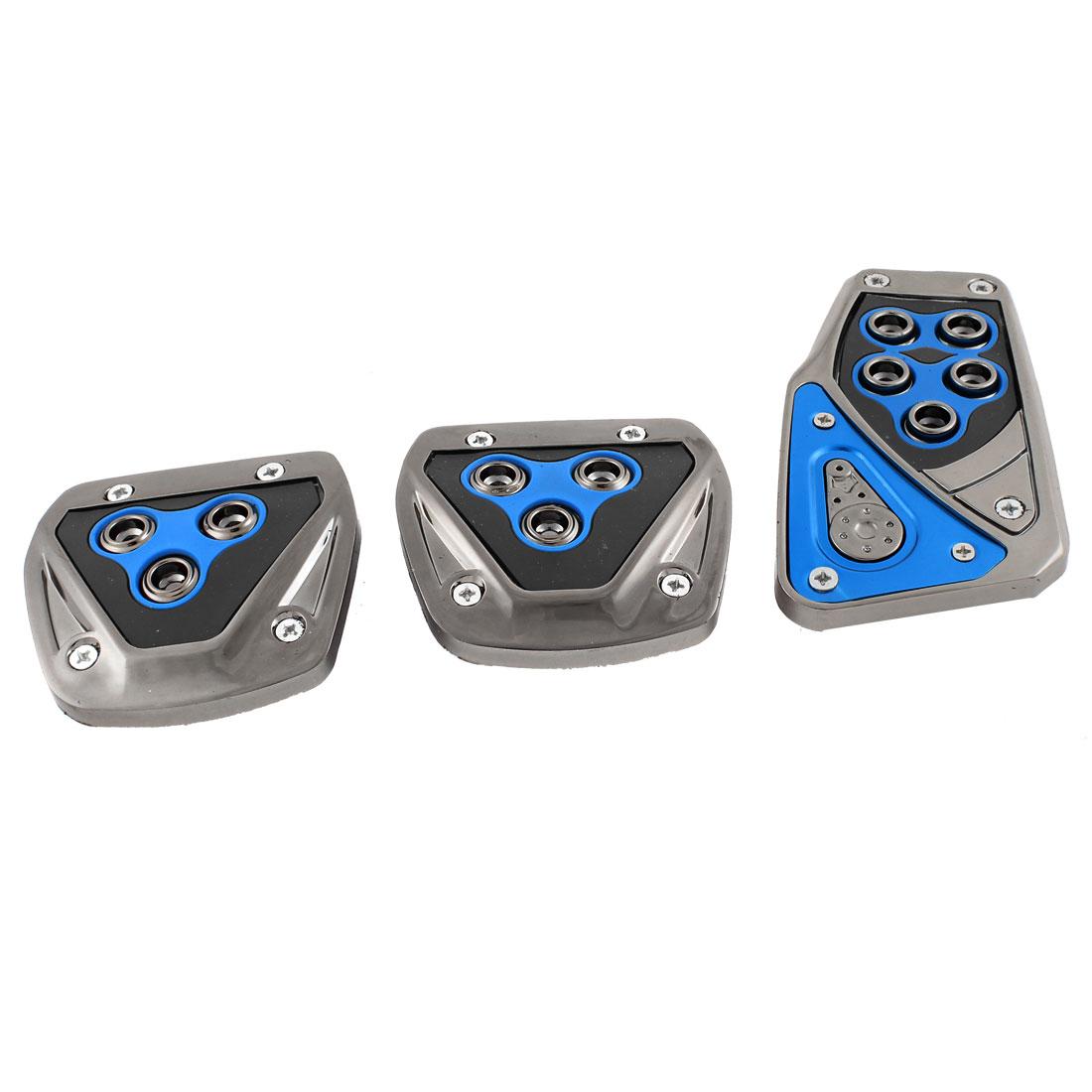 3 in 1 Antislip Design Car Gas Clutch Brake Foot Pedal Pad Cover Black Blue
