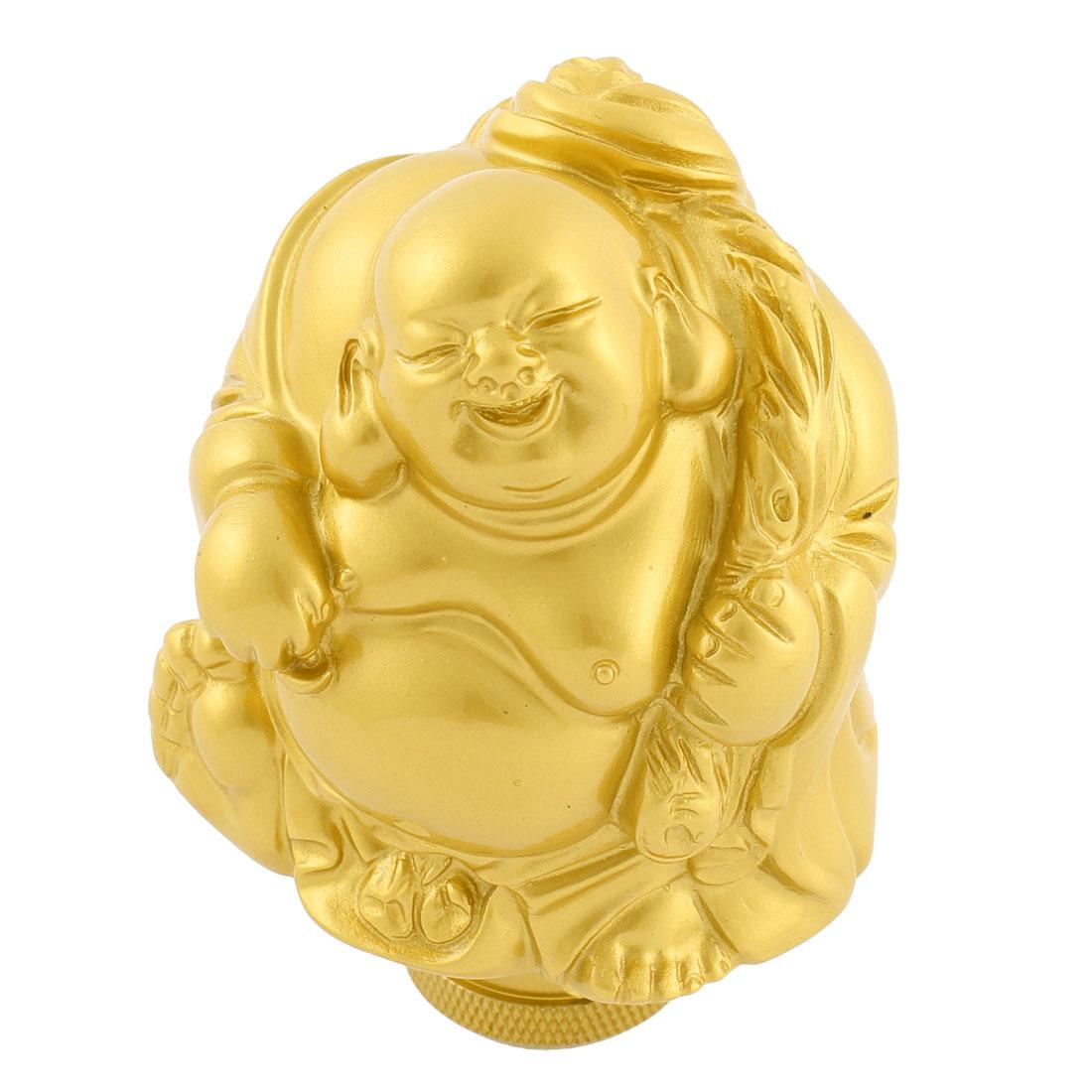 Univesal Gold Tone Buddha Shape Car Manual Gear Shift Lever Knob Shifter Stick