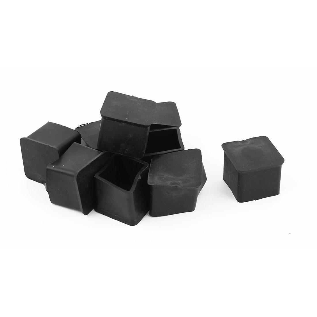 Furniture Chair Table Desk Leg Square Rubber Feet Cover Protector 9pcs Black