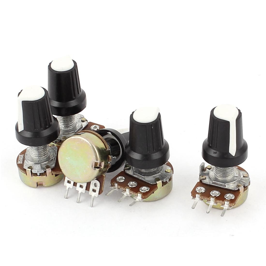 New 5pcs 500K OHM 3 Terminal Linear Taper Rotary Volume B Type Potentiometer Pot