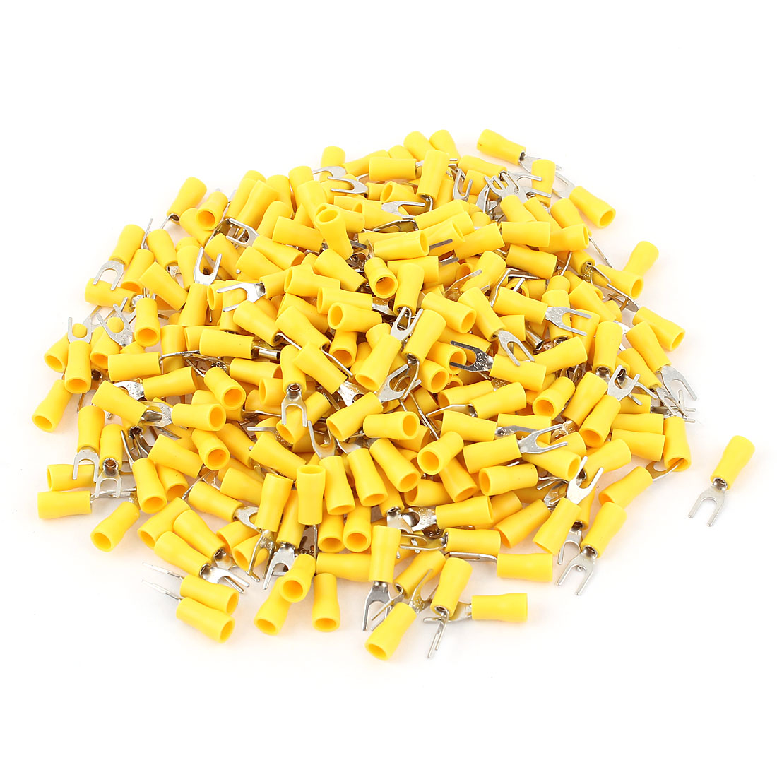 320 Pcs AWG22-16 Yellow SV1.25-3 Wire Connector Insulated Fork Spade Terminals