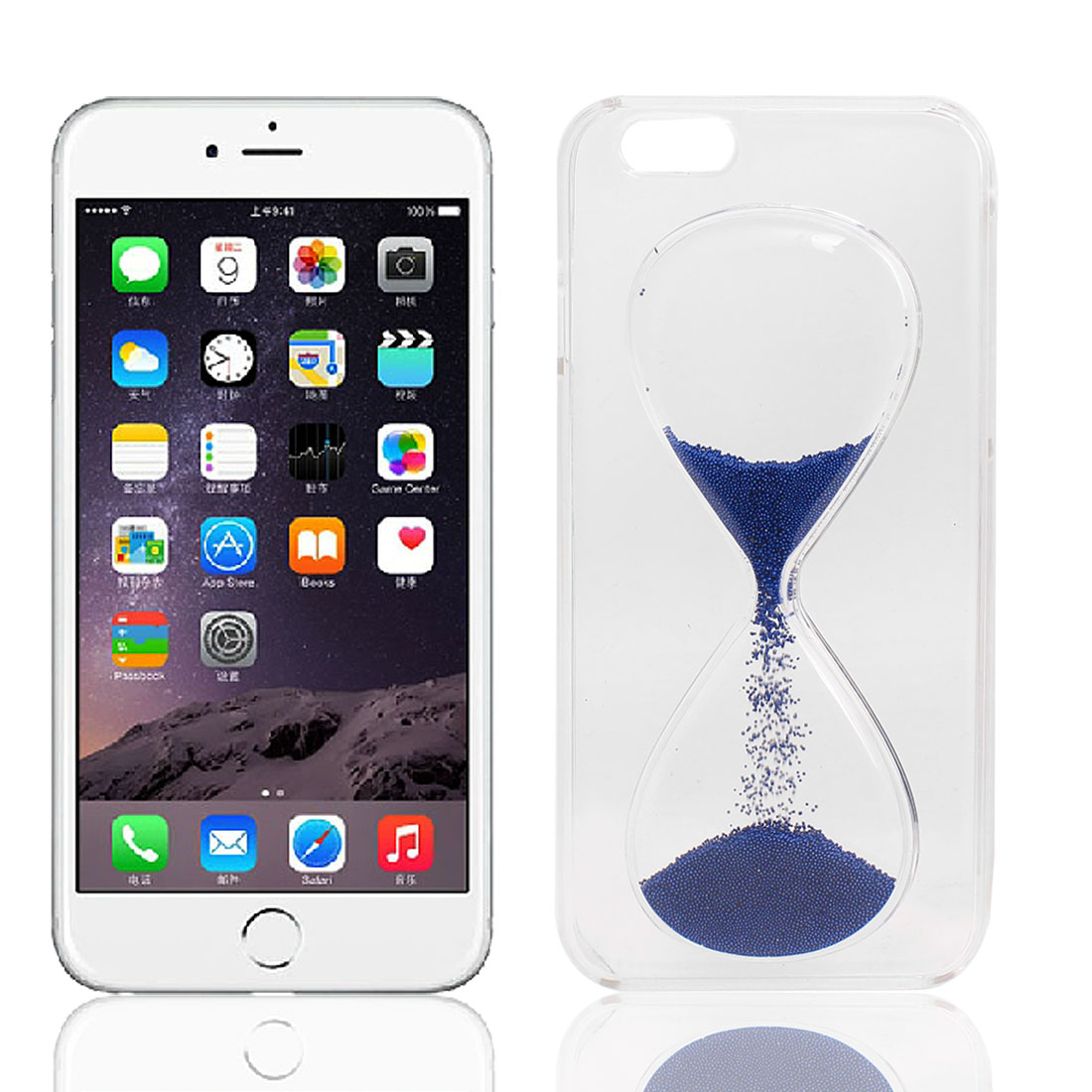 """Transparent 3D Solid Hourglass Quicksand Back Case Cover Blue for iPhone 6 4.7"""""""