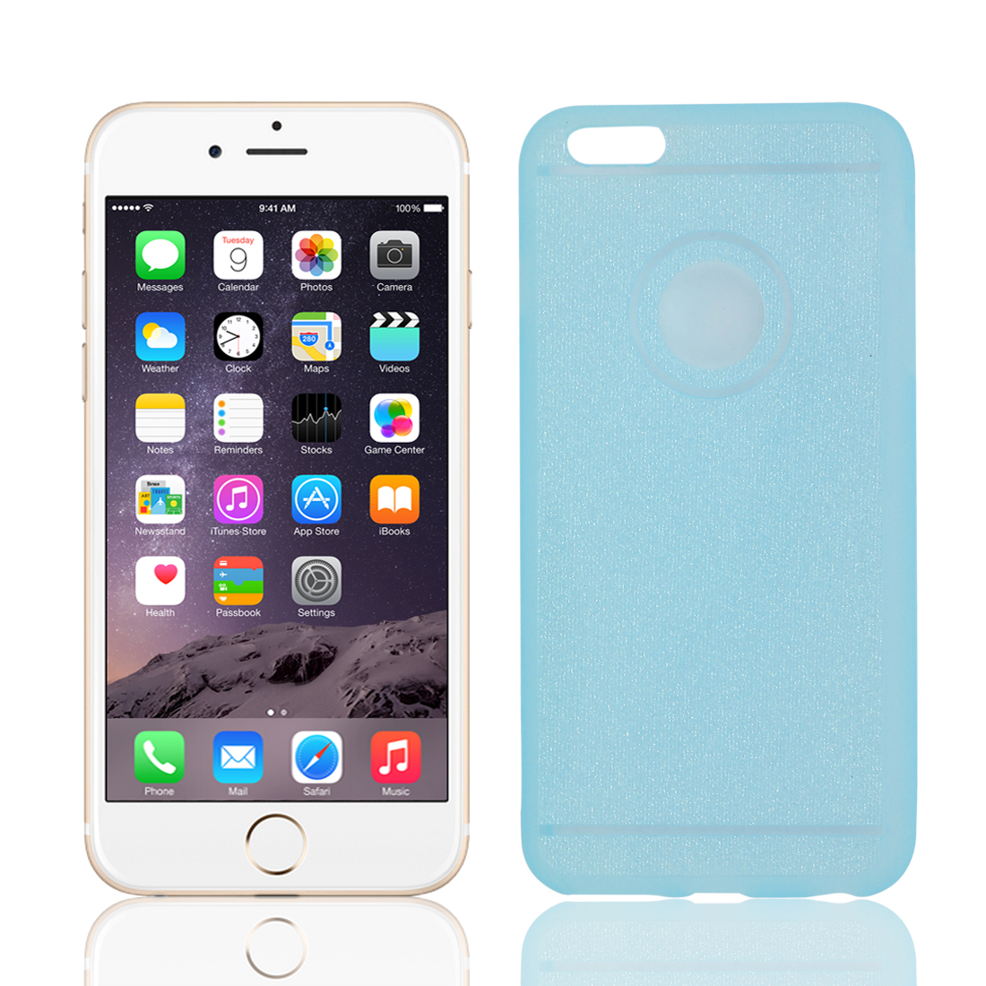 TPU Thin Glitter Powder Protective Cover Case Blue for Apple iPhone 6 Plus