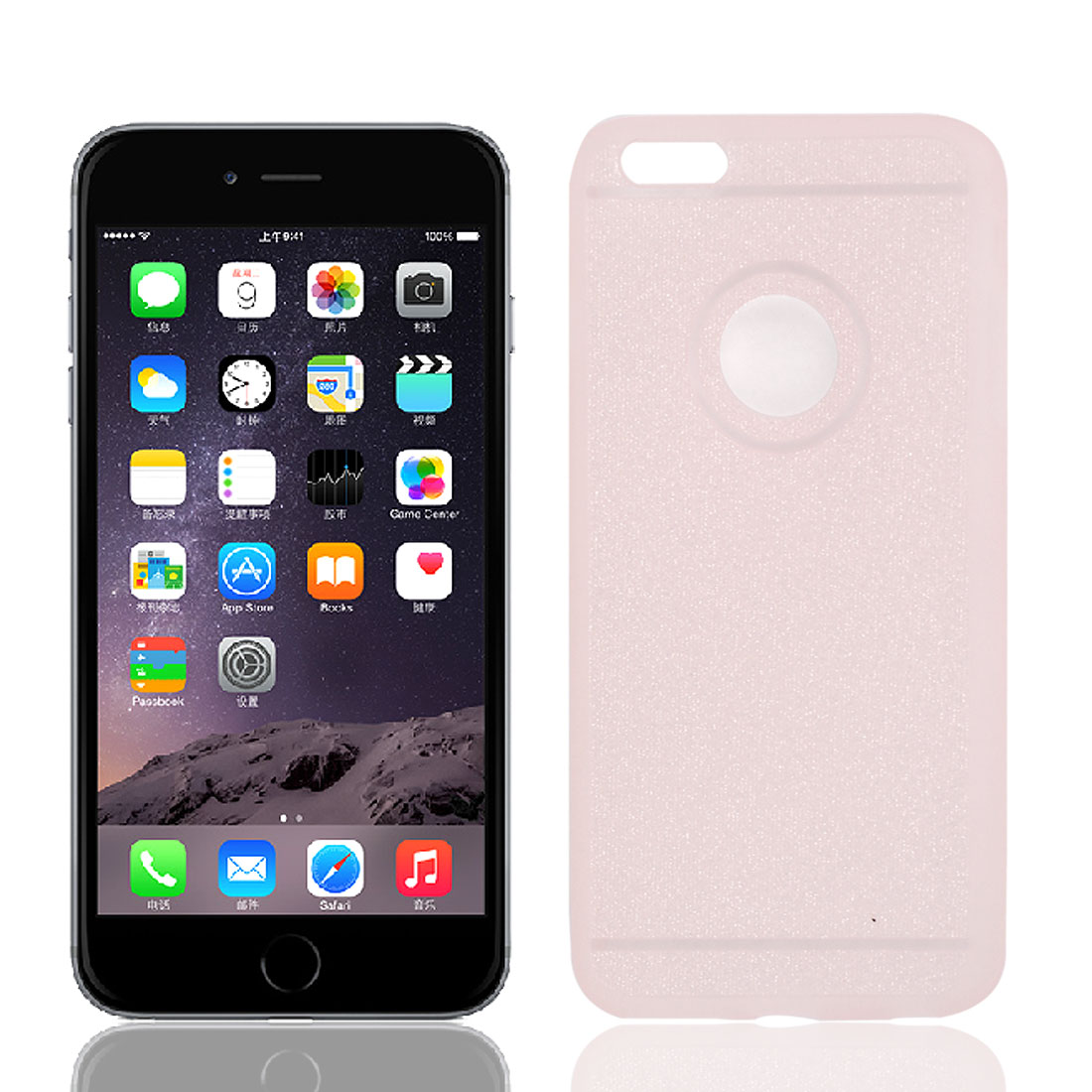 TPU Thin Glitter Powder Protective Cover Case Pink for Apple iPhone 6 Plus