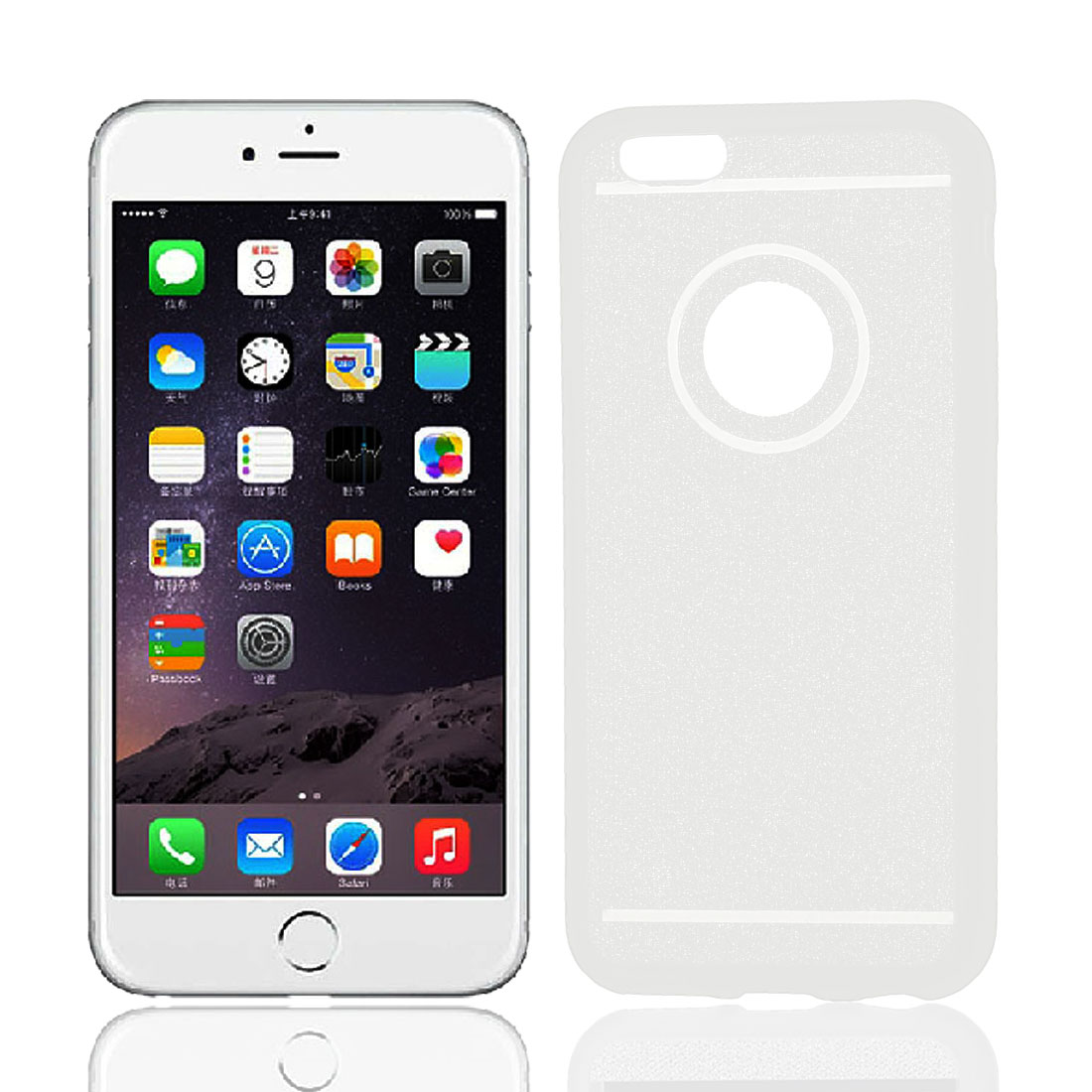 TPU Ultra Thin Glitter Powder Bumper Cover Case Shell White for iPhone 6 4.7""