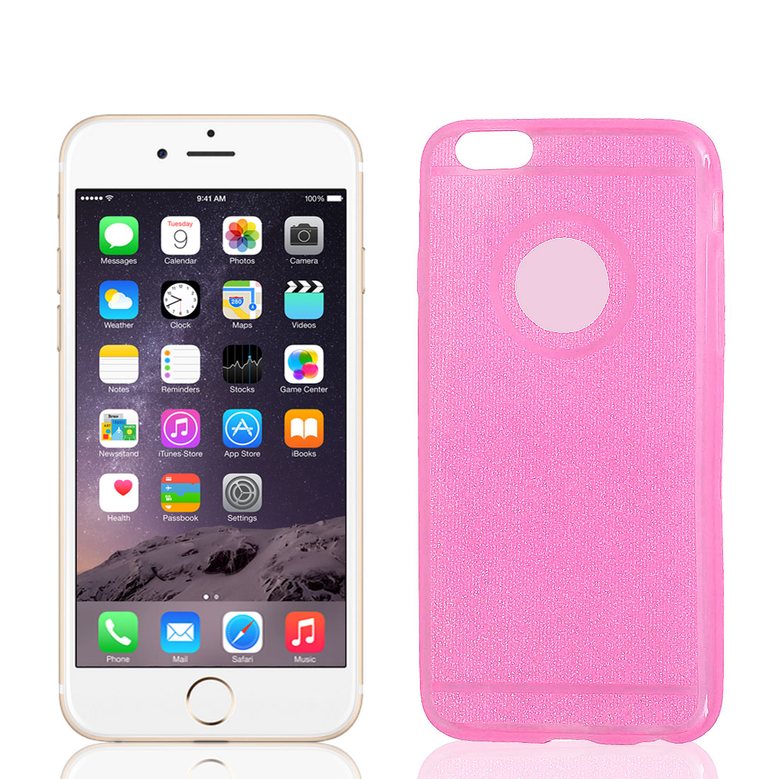 TPU Ultra Thin Glitter Powder Bumper Cover Case Shell Pink for iPhone 6 4.7""