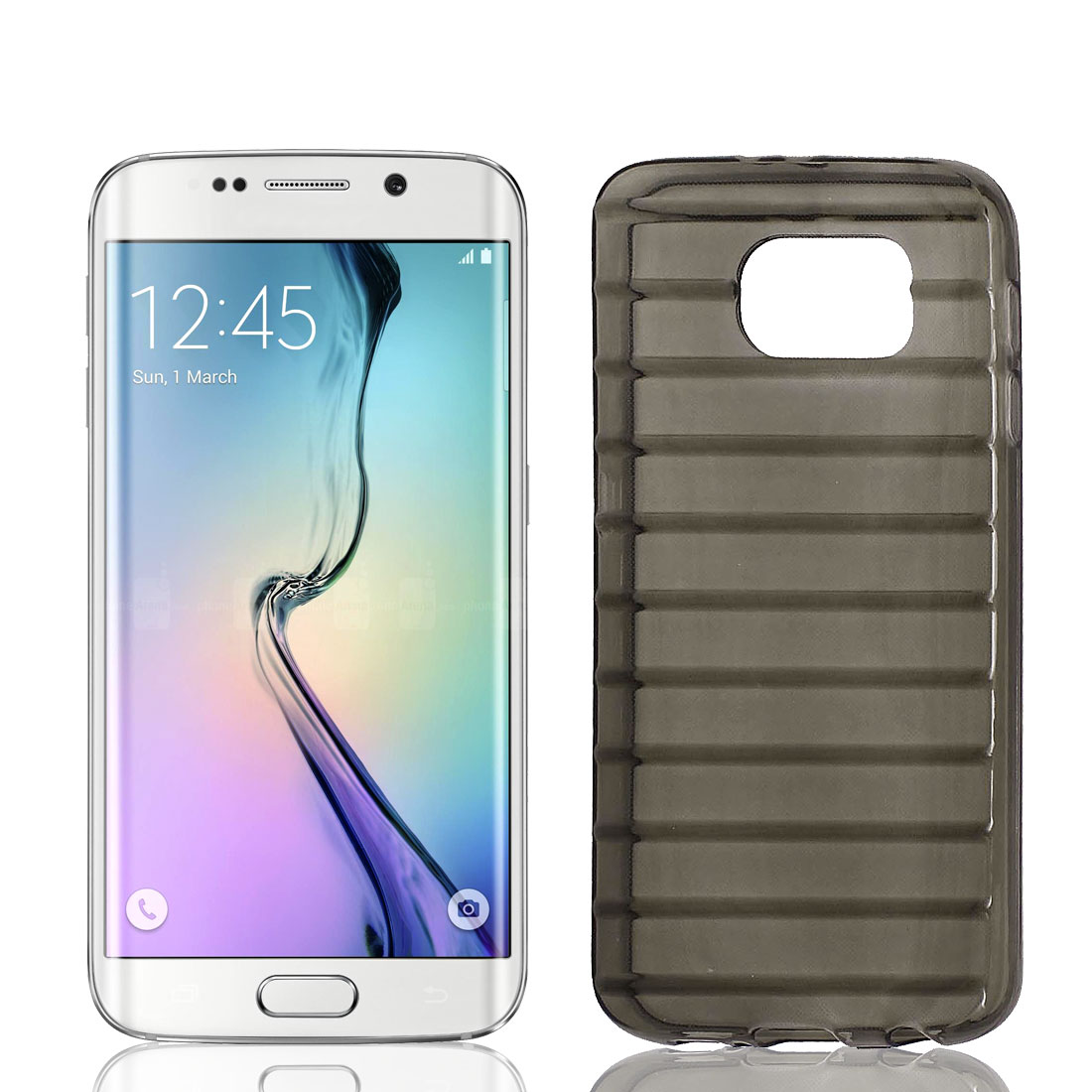 TPU Slim Ladder Design Stripe Bumper Cover Case Skin Shell Gray for Galaxy S6